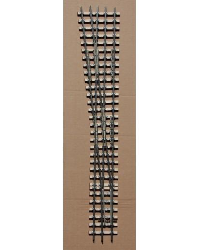 Spur 1e Abzweig mit Seitenwechsel Dreischienengleis, 7,5°, 1500 mm Radius